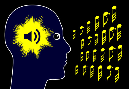 molesto: Tinnitus. Muestra del concepto de o�r ruidos molestos en la cabeza y las orejas Foto de archivo