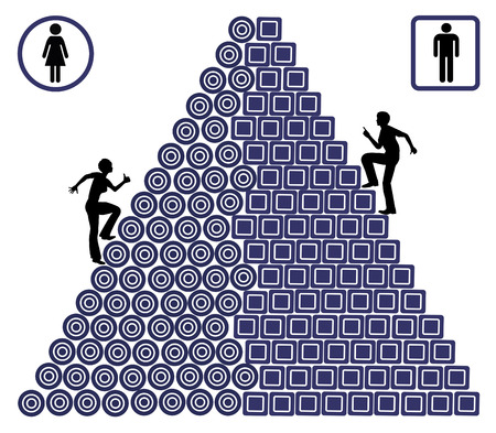 Gender Gap Carrière. De vrouw heeft veel meer dan mannen worstelen op hun werkplek te lijden ongelijke kansen Stockfoto