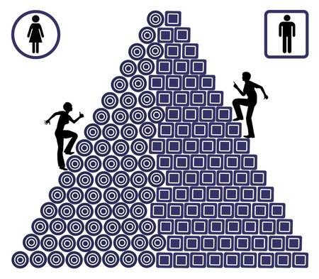 simbolo uomo donna: Gender Gap Carriera. La donna deve lottare molto di più rispetto agli uomini al loro posto di lavoro soffre probabilità disuguali