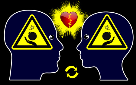 endangering: Marital War. Humorous concept sign of couple fiercely fighting with arguments endangering their love