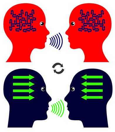 psyche: Patrones conversación. Los hombres y las mujeres que hablan entre sí siguen diferentes patrones de comunicación Foto de archivo