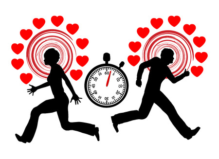 speed dating: Speed Dating Concept. Man and woman racing against the clock for the right partner
