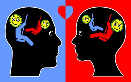 empatia: Concepto de empat�a. Signo concepto psicol�gico de hombre y mujer de buena vibraci�n y congruencia