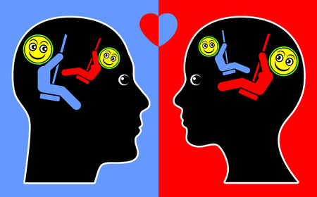 Concept of Empathy. Psychological concept sign of man and woman in good vibration and congruity Standard-Bild