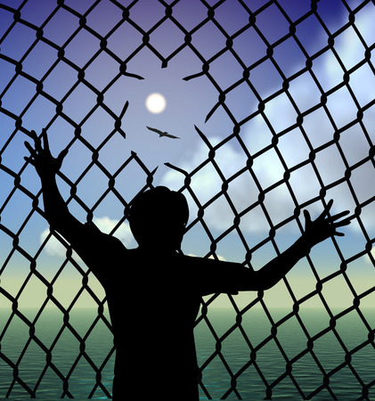 destitute: Refugee. Destitute person behind the fence in the refugee camp longing for liberty and peace Stock Photo