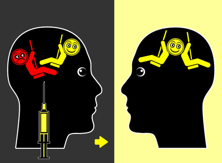 health symbols metaphors: Mood Swings Medication. Medical treatment in order to reduce the frequency of bipolar  mood episodes of mania and depression Stock Photo