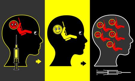 drogadiccion: Signo concepto de Educación muestran que el estado de ánimo de elevación drogas están creando más problemas que nunca antes