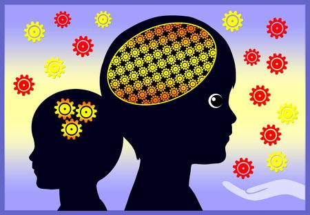 the psyche: Desarrollo temprano del cerebro. El entorno de los primeros años tiene efectos sobre el desarrollo de la inteligencia y de las actividades generales del cerebro Foto de archivo