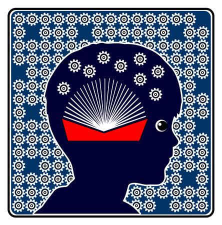 psicologia infantil: El desarrollo del cerebro por la Lectura. Muestra del concepto que muestra la importancia de los libros en la educación infantil Foto de archivo