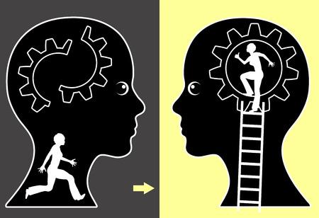 Self Help. Concept teken van een vrouw met een sterke hulp zelf strategie Stockfoto