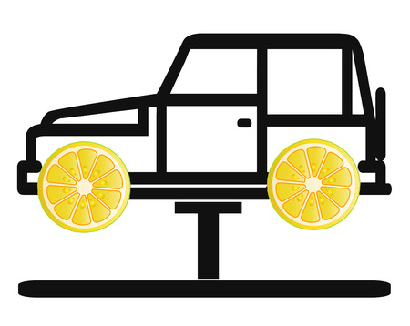 flaws: Lemon Car. New vehicles with hidden mechanical flaws or defect workmanship are called lemon cars Stock Photo