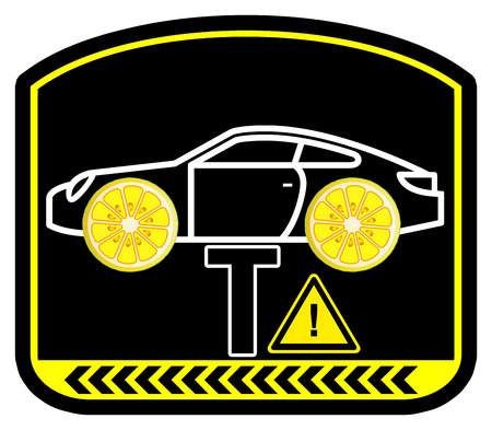 flaws: Warning Lemon Car. Watch out for hidden mechanical flaws or defect workmanship when buying a car Stock Photo
