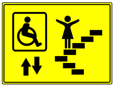 impaired: Mobility and Inclusion. Elevator sign for mobility impaired people like wheelchair user Stock Photo