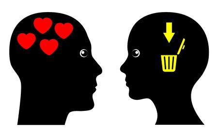 unrequited love: El amor puede ser cruel. Signo concepto humor�stica de amor no correspondido.