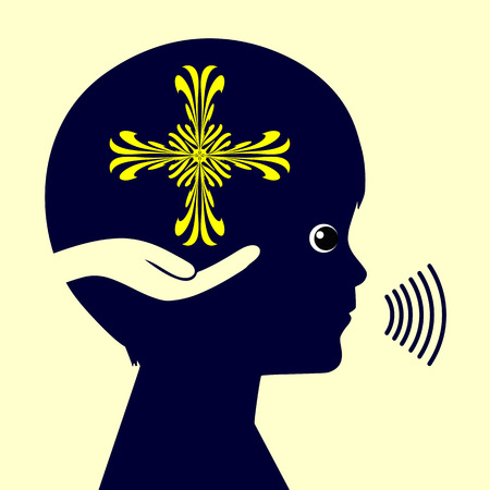 psicologia infantil: Educación Religiosa. Muestra del concepto de un niño orando a Dios y sentirse cómodo y seguro
