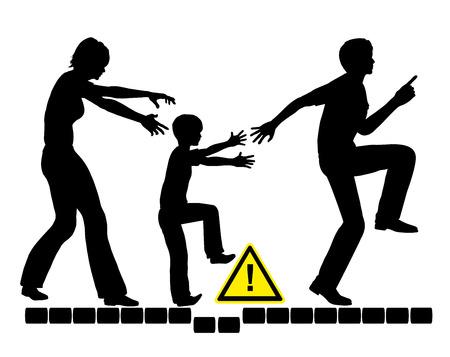Overparenting Child. Concept teken van overbezorgd en angstig ouders proberen om haar kind te beschermen