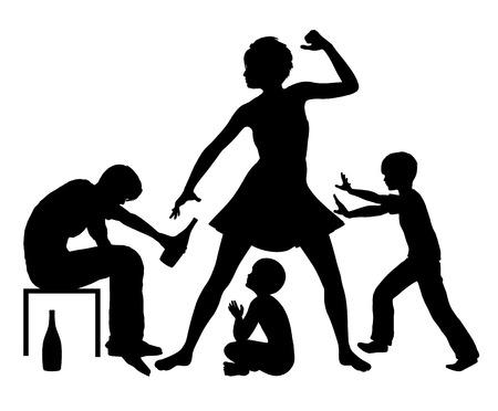 violencia: El alcohol y la violencia doméstica. Conflicto familiar violento debido a la adicción al alcohol