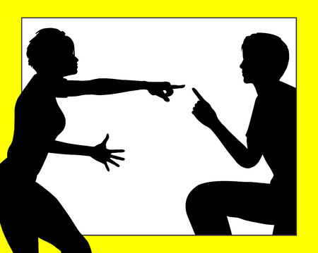 strife: Dispute among Couple. The body language of conflicting communication Stock Photo
