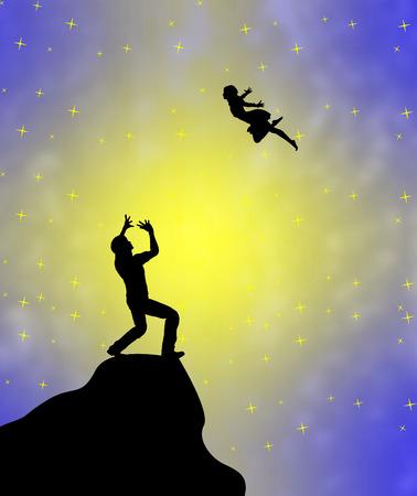 percepción: Alucinación. Lunatic sueños de un hombre con la percepción delirante de un vuelo del ángel de