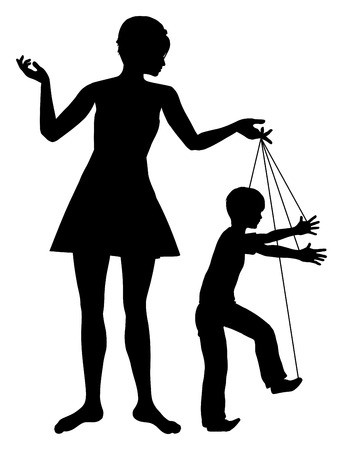 Manipulatieve moeder. Concept teken van ouder manipuleren van haar kind als een marionet