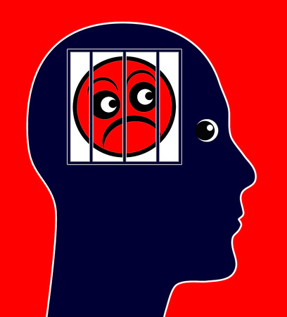 negative thinking: Pessimist. Concept sign of a person who is negative thinking all the time