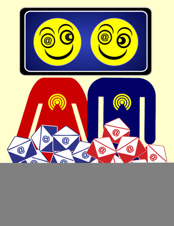 addictive: Email Junkies. Humorous concept sign showing that communication by smartphones can become addictive