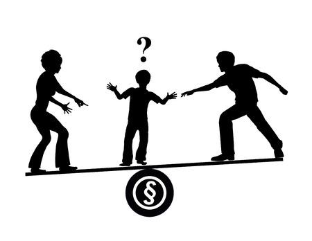 kinderen: Child Custody Quarrel. Ouders proberen hun kinderen te beïnvloeden als ze scheiden om hun voordeel te krijgen