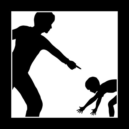 punishment: Emotional Punishment. Concept sign of father or teacher who is intimidating and humiliating his child or student Stock Photo