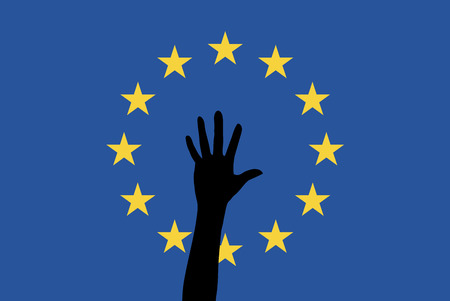 seekers: Refugees in the EU. Symbol for the arrivals of asylum seekers Increasing and refugees in Europe Stock Photo