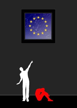 war refugee: Refugee dreaming of Europe. Concept sign of a desperate refugee longing for peace and liberty in the EU
