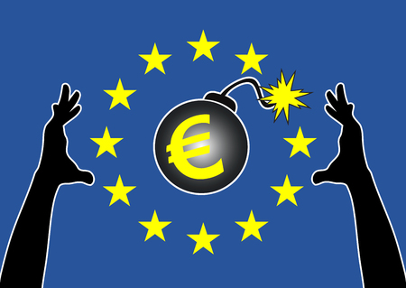 EU: Euro zone rescue plan. Humorous concept Sign of the frantic efforts to alleviate the problem of the debt crisis in Greece
