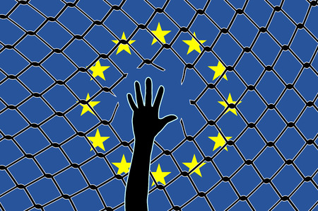 europe: Fortress Europe. Concept sign of how the EU turns its back on refugees