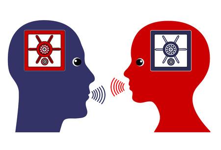 conversaciones: Las conversaciones secretas. Muestra del concepto de pareja que les dicen a sus pensamientos en la confianza Foto de archivo