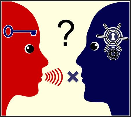 marital: Marital communication problem. The woman talks while the man keeps silence.