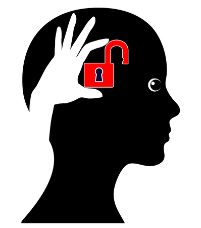 Unlock your Brain. Concept sign of a woman who can make more of her brain