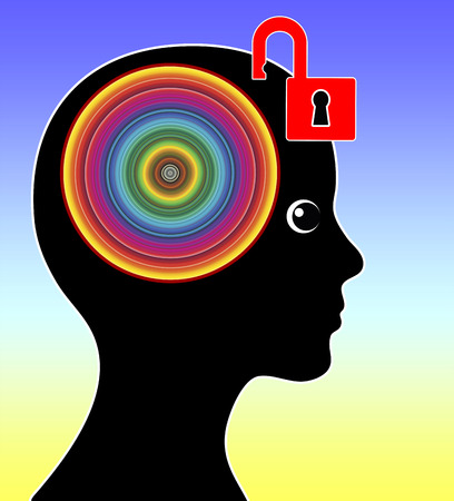 stimulate: Unlock your Creativity. Concept sign of a woman unleashing her CreativeMind