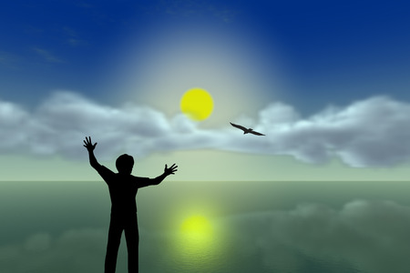 wish desire: Free Spirit. Excited man with arms up looking towards the ocean praising his freedom