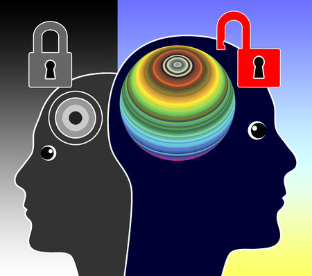 potential: Unlock your Mind. Concept sign of a genius person unleashing his creative potential