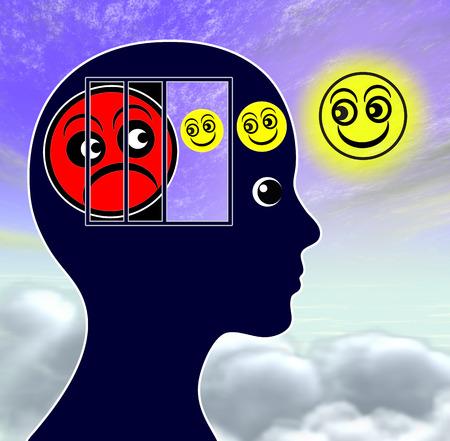 psique: Mood Elevator. Mujer lucha contra la depresión con la ayuda de potenciadores del estado de ánimo Foto de archivo