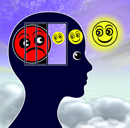 hypnosis: Mood Elevator. Woman fighting depression with the help of mood enhancers