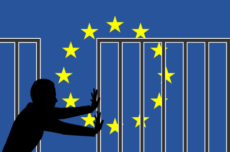 Open the Borders of Fortress Europe. Concept sign and appeal for humanitarian asylum policy in Europe Standard-Bild