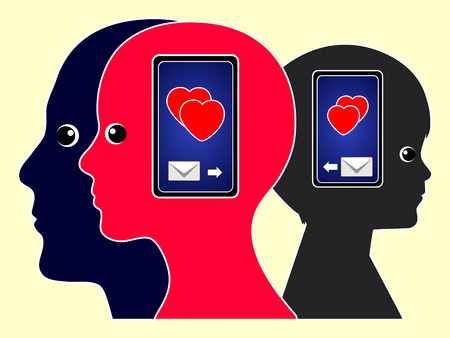 parental love: Love Messages with Cell Phones. Family members Exchanging Their feelings on the mobile phone