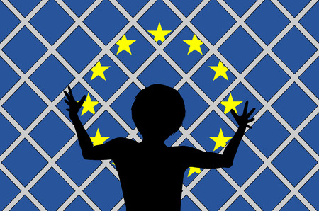 welcome people: No Welcome for Migrants. Refugees not welcomed in the European Union Stock Photo