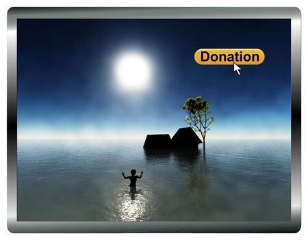 poverty relief: Online Donation. Site of a charitable organization collecting donations for flood victims digital