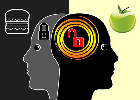 comida chatarra: Cerebro o comida chatarra. Comida rápida ralentiza actividades cerebrales Según estudios científicos, mientras que la dieta sana activa las células cerebrales Foto de archivo