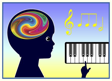 music therapy: Terapia musical. M�sica est� ayudando a los ni�os a mejorar su bienestar f�sico y salud mental Foto de archivo