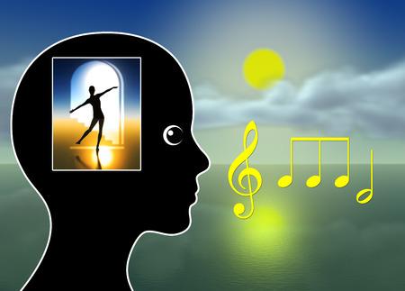 Curación Música. Musicoterapia para la relajación, la meditación, la reducción del estrés, manejo del dolor o simplemente para hacerle cosquillas a la fantasía Foto de archivo - 43398652