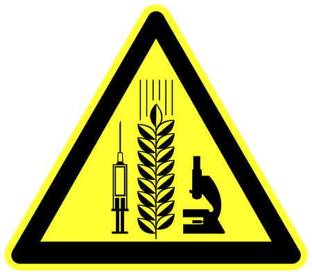 genetic food modification: Caution Modified Wheat Product. Warning sign and food label for grain products with Genetic modification