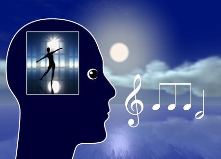 音楽では、夢をかなえます。明晰夢を見て、リラクゼーションとストレス軽減につながるクラシック音楽 写真素材