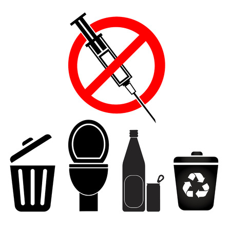 disposed: No Disposal for Syringes and Needles. Syringes must not Disposed by law in household trash in toilets, recycling bins or bottles and cans Stock Photo